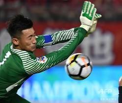 サッカー中国代表GK張鷺(2018年8月28日撮影、資料写真)。(c)TOSHIFUMI KITAMURA / AFP
