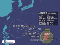 非常に強い台風26号 中心付近に目が出現