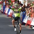 自転車ロードレース、ブエルタ・ア・エスパーニャ、第11ステージ(サンパレからウルダクスダンチャリネア、180キロメートル)。ステージ優勝を喜ぶエウスカディ・ムリアスのミケル・イトゥリア(2019年9月4日撮影)。(c)ANDER GILLENEA / AFP