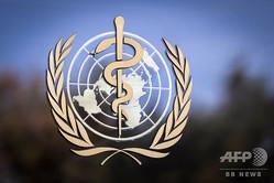 スイス・ジュネーブにある世界保健機関(WHO)本部に掲げられたロゴ(2017年10月24日撮影、資料写真)。(c)Fabrice COFFRINI / AFP
