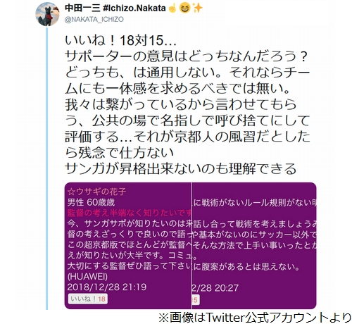 [画像] J2京都サンガFCの新監督、ツイート炎上を謝罪