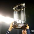 米大リーグ(MLB)、ワールドシリーズのトロフィー(2017年11月1日撮影、資料写真)。(c)Ezra Shaw/Getty Images/ AFP