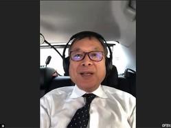 業務のため移動中車内からの会見を行った村井満チェアマン(オンライン会議アプリ『Zoom』)