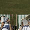 英ロンドンのグリーンパークで本を読むカップル(2016年9月14日撮影、資料写真)。(c)Daniel Leal-Olivas / AFP