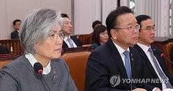 全体会議に出席した(左から)康京和氏、金富謙氏=21日、ソウル(聯合ニュース)