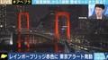 レインボーブリッジと東京都庁「アラート」でライトアップが赤色に