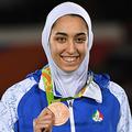 リオデジャネイロ五輪、テコンドー女子57キロ級で銅メダルを獲得したキミア・アリザデ(2016年8月18日撮影)。(c)Kirill KUDRYAVTSEV / AFP