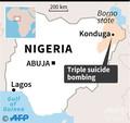 3度の自爆攻撃が発生したナイジェリアの町コンドゥガの位置を示した図。(c)AFP=時事/AFPBB News