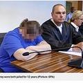 小児性愛者に我が子を売った母親と継父(右奥)(画像は『Metro 2018年8月7日付「German couple jailed for selling son, 9, to paedophiles on dark web」(Picture: EPA)』のスクリーンショット)