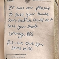 消火活動中に冷蔵庫の牛乳を飲んだことを伝える消防士からのメモ/Paul Sefky/Facebook