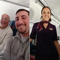 クリスマスを娘と一緒に過ごしたい父(写真左)、CAの娘が勤務する飛行機に乗り込む(画像は『Pierce T. Vaughan 2018年12月25日付Facebook「Look ma we made it Kimberly Hal Vaughan」』のスクリーンショット)