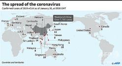 日本時間30日午後6時30分現在で確認された、新型コロナウイルス感染者の場所と人数を示した図。(c)JOHN SAEKI, LAURENCE CHU / AFP