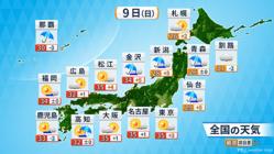 9日の天気予報。