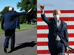 ドナルド・トランプ米大統領(左、2020年7月29日撮影)とジョー・バイデン次期米大統領(2020年10月24日撮影)のコンボ写真(2021年1月15日作成)。(c)JIM WATSON and Angela Weiss / AFP