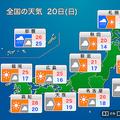 20日は広い範囲で秋晴れに 南西諸島は台風接近に注意