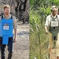 アンゴラの地雷原跡地を訪れたヘンリー英王子(左、ヘイロー・トラスト提供、2019年9月27日撮影)と、母親の故ダイアナ元妃(1997年1月15日撮影、資料写真)。(c)AFP=時事/AFPBB News