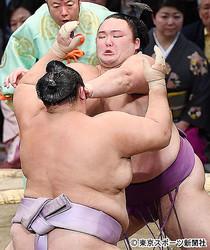 朝乃山は押し相撲の琴勇輝(手前)を相手に、一歩も引かずに押し出した