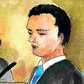 被告人質問に答える小林遼被告=18日、新潟地裁、絵と構成・東有達(ゆうだ)
