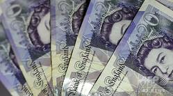 英国の20ポンド札(2016年8月17日撮影、資料写真)。(c)PAUL ELLIS / AFP