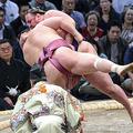 栃ノ心(奥)は首ひねりで宝富士を下す=13日、福岡国際センター