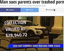 「大事なコレクションを捨てられた」と息子が両親を訴える(画像は『Fox17 2019年4月12日付「Man sues parents over trashed porn collection」』のスクリーンショット)