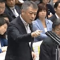 山本幸三・地方創生担当相に指をさして声を荒らげた桜井充議員(参議院インターネット審議中継から)