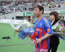 2014年3月8日に味の素スタジアムに来場した志村けんさん