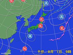 1日午前9時の予想天気図。