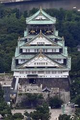 大阪城=大阪市中央区で、本社ヘリから北村隆夫撮影