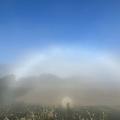 霧が発生した長野・白馬村で「白虹」と「ブロッケン現象」