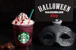 スターバックス「ハロウィン ダーク ナイト フラペチーノ」夜の仮面舞踏会をイメージ