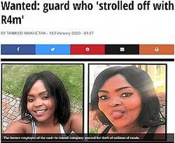 3千万円を持ち逃げした女性警備員(画像は『SowetanLIVE 2020年2月18日付「Wanted: guard who 'strolled off with R4m'」』のスクリーンショット)