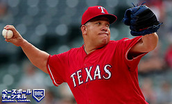 ARLINGTON, TX - AUGUST 13: Bartolo Colon #40 of the Texas Rangers pitches against the Arizona Diamondbacks in the top of the first inning at Globe Life Park in Arlington on August 13, 2018 in Arlington, Texas. (Photo by Tom Pennington/Getty Images)