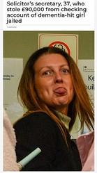 「現金を引き出すのは簡単だった」と事務所で働いていた女(画像は『English Headline 2021年1月11日付「Solicitor's secretary, 37, who stole £90,000 from checking account of dementia-hit girl jailed」』のスクリーンショット)