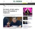 ペルー国民の半数以上が恩赦に賛成していることを報じる「EL DEBER」紙