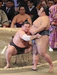 貴景勝(右)を寄り切りで下した白鵬(24日)=安川純撮影