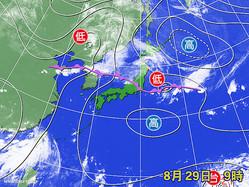 29日午前9時の天気図と衛星画像。