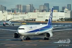 中国・武漢から約200人の邦人を乗せて羽田空港に到着したチャーター機(2020年1月29日撮影)。(c)Kazuhiro NOGI / AFP