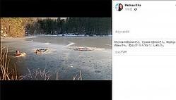 凍った湖で立ち往生する2頭の犬と救助に向かう男性(画像は『Melissa Kho 2019年3月9日付Facebook「Just witnessed something amazing: My hubby (and pup) rescuing two dogs trapped in the ice」』のスクリーンショット)
