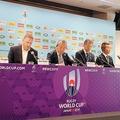 ラグビーW杯で12日に開催される2試合の中止を伝える関係者による記者会見