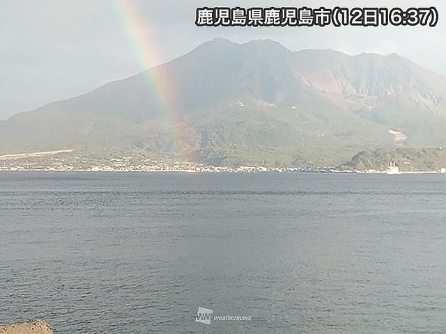 桜島の日に、鹿児島・桜島にかかる虹 - ライブドアニュース
