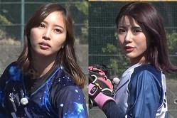 野球女子として話題の笹川萌さん(左)とめいちゅん【写真提供:株式会社アカツキ】