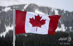 カナダの国旗(2017年11月29日撮影、資料写真)。(c)Don EMMERT / AFP