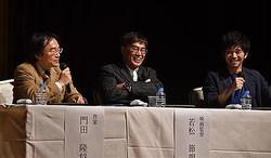 3月6日から全国ロードショーされる映画「Fukushima 50」の原作者・門田隆将氏(左端)、同作品の監督・若松節朗氏(中央)、出演俳優の和田正人さん(右端)=15日、東京都中央区(渡辺照明撮影)