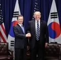 米ニューヨークを訪問している韓国の文在寅(ムン・ジェイン)大統領は22日未明(日本時間)、トランプ米大統領と首脳会談を行い、北朝鮮問題などを協議した。両首脳は韓国の最先端の軍事資産獲得と開発などを通じ、強固な韓米連合防衛態勢を維持・強化することで合意した=21日、ニューヨーク(聯合ニュース) (END)