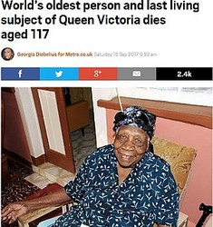 117歳で亡くなったジャマイカ女性(画像は『Metro 2017年9月16日付「World's oldest person and last living subject of Queen Victoria dies aged 117」(Picture: Jamaica-gleaner/Sheena Gayle)』のスクリーンショット)