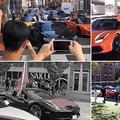 8月18日、カナダのトロント市で行われた香港デモ支持集会に対して、一部の中国人留学生が高級車フェラーリに乗って中国当局支持の集会に参加した(スクリーンショット)