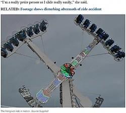 360度回転する絶叫マシンで女性客が転落(画像は『news.com.au 2020年10月27日付「Witness saw woman's legs and hips dangling from Cairns Showfest ride before fall」(Source:Supplied)』のスクリーンショット)