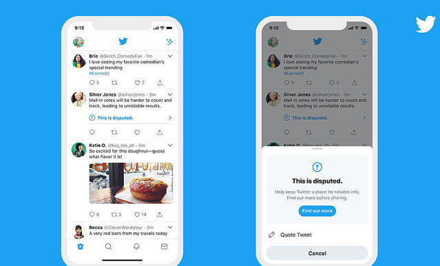 Twitter、誤解招くとのラベル付きツイートを「いいね」しようとすると警告を表示