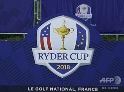 米国選抜と欧州選抜による男子ゴルフの対抗戦、ライダーカップのロゴ(2018年9月24日撮影)。(c)Lionel BONAVENTURE / AFP